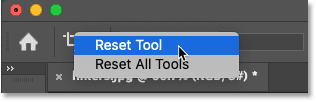 Resetting the Crop Tool in Photoshop