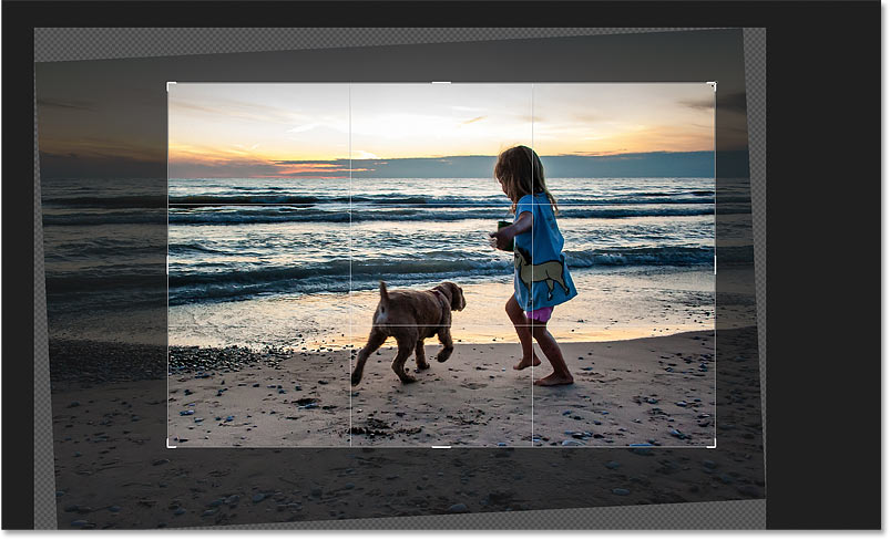 Manually resizing the crop border after straightening the image in Photoshop
