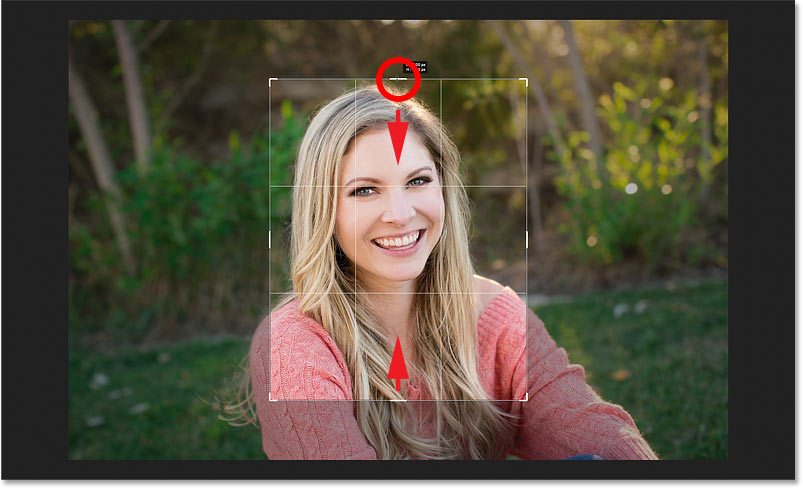 Resizing the crop border in Photoshop