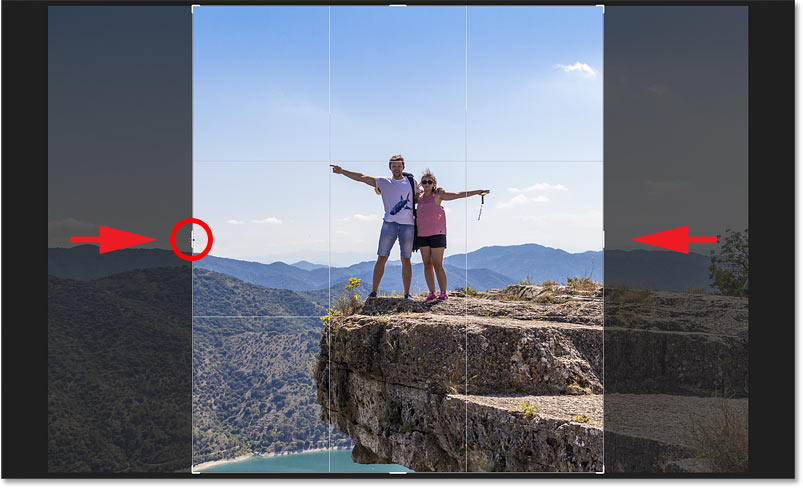 Resizing the crop border from its center in Photoshop