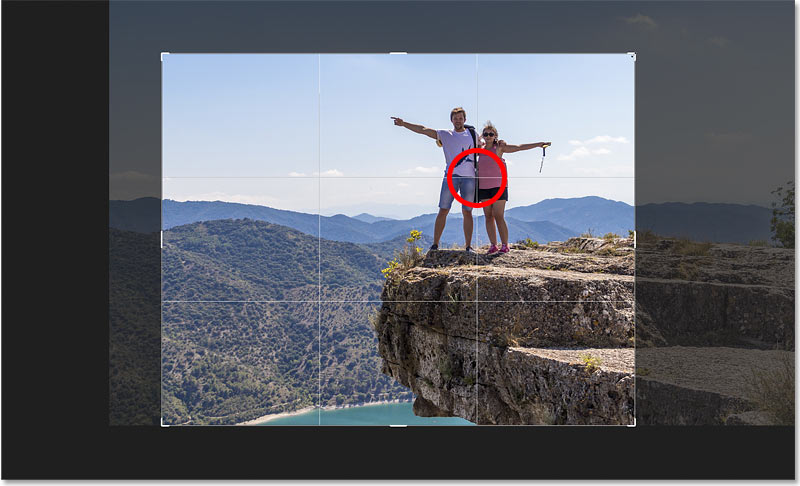 Composing the crop using the Rule of Thirds grid in Photoshop