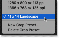 The new custom aspect ratio preset for the Crop Tool in Photoshop