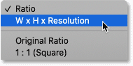 Choosing W x H x Resolution for the Crop Tool in Photoshop