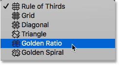 Choosing the Golden Ratio grid overlay for the Crop Tool in Photoshop