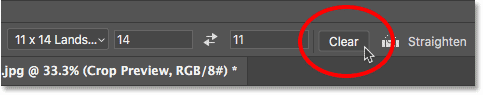 Clearing the Crop Tool aspect ratio settings in Photoshop