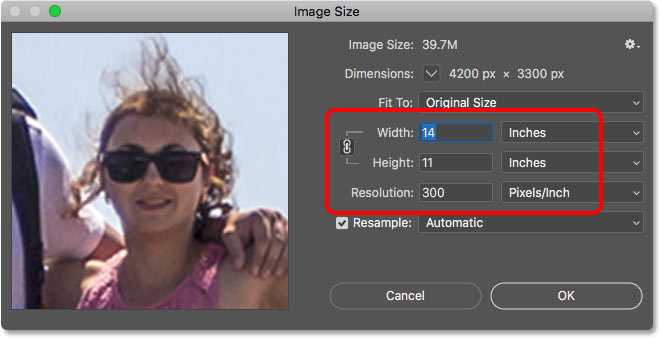 Confirming the cropped image size in the Image Size dialog box in Photoshop
