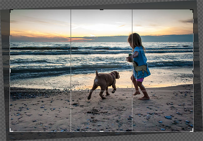 Photoshop straightens the image and resizes the crop border