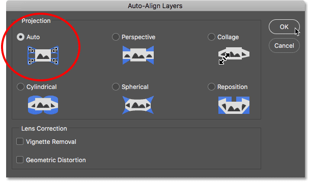 The Auto-Align Layers dialog box in Photoshop.