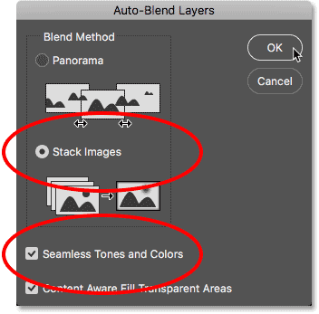 The Auto-Blend Layers dialog box.