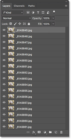 The Layers panel showing all of the images loaded as layers.