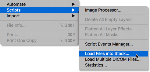 Choosing the Load Files into Stack command in Photoshop.