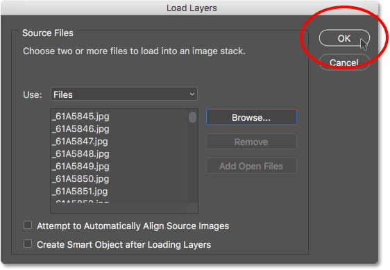 Clicking OK to load the images into Photoshop.