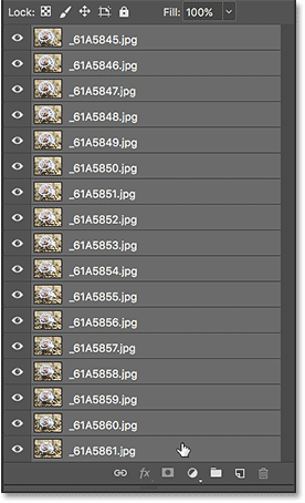 Selecting all of the layers in the Layers panel.