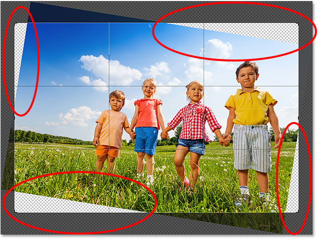 The result after straightening the image with content-aware crop in Photoshop