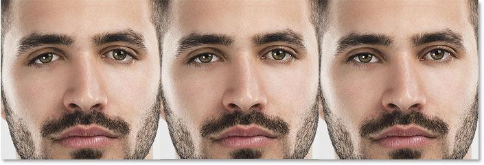 A comparison of the Eye Tilt slider in Face-Aware Liquify.
