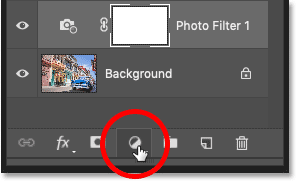 Adding a new adjustment layer in Photoshop's Layers panel