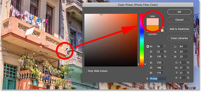 Sampling a color from the image to use with Photoshop's Photo Filter