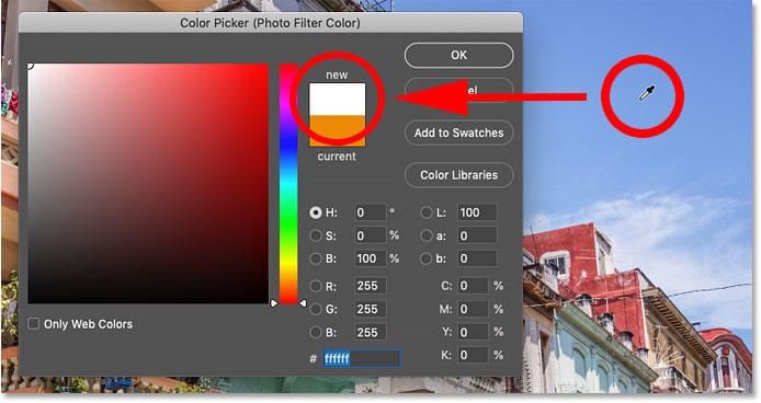 Clicking on blue in the image selects white in the Color Picker in Photoshop