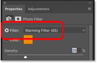 The default Photo Filter settings in Photoshop's Properties panel