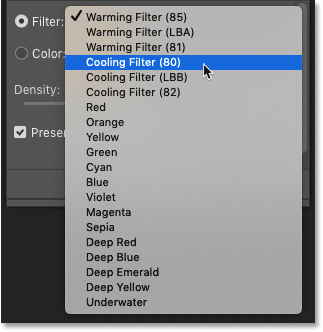The list of Photoshop's Photo Filter preset color filters