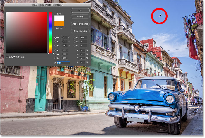 Sampling a color from the image to use with the Photo Filter in Photoshop