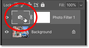 Clicking the Photo Filter's icon to deselect the layer mask in Photoshop