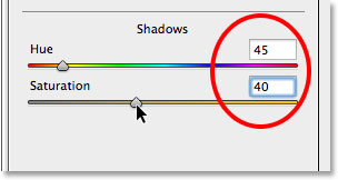Setting the Hue and Saturation values for the Shadows section in the Split Toning panel.
