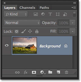 The Layers panel in Photoshop CC showing the original image on the Background layer.