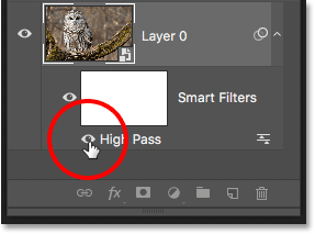 Toggling the image sharpenin effect on and off using the High Pass filter visibility icon
