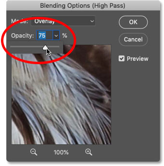 Adjusting the image sharpening amount by lowering the High Pass filter opacity