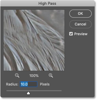 Photoshop's High Pass filter dialog box