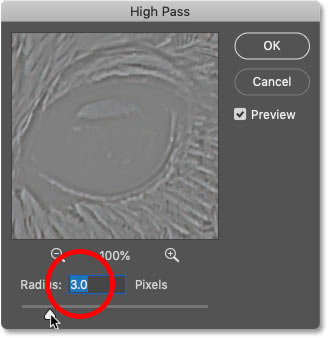 Setting the High Pass filter Radius value to 3 pixels