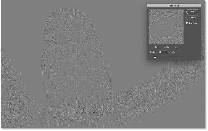 The result with a Radius of 3 pixels in Photoshop's High Pass filter