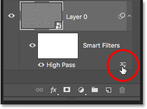 Opening the Blending Options for the High Pass filter in the Layers panel