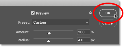 Closing the Smart Sharpen dialog box in Photoshop