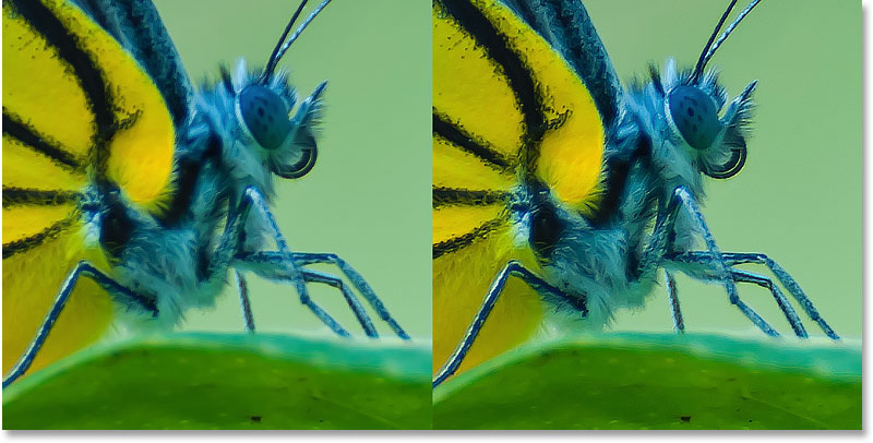 A comparison between the default and higher Radius values in Photoshop's Smart Sharpen filter.
