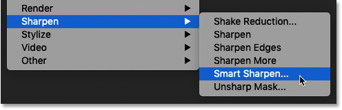 Selecting the Smart Sharpen filter in Photoshop