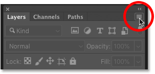 Clicking the Layers panel menu icon in Photoshop
