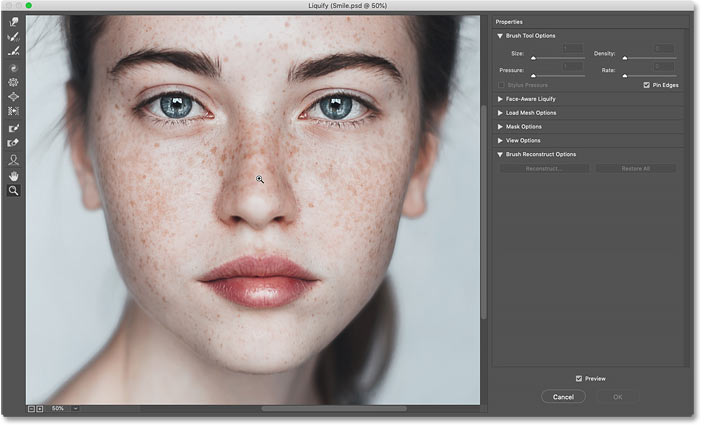 Zooming in on the subject's face in Photoshop's Liquify filter