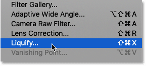 Selecting the Liquify filter in Photoshop