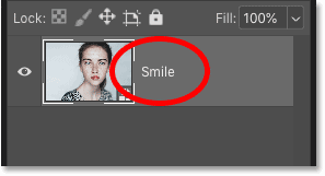 Renaming the smart object 'Smile' in Photoshop