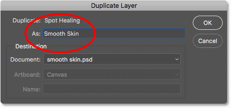 Naming the new layer 'Smooth Skin' in Photoshop