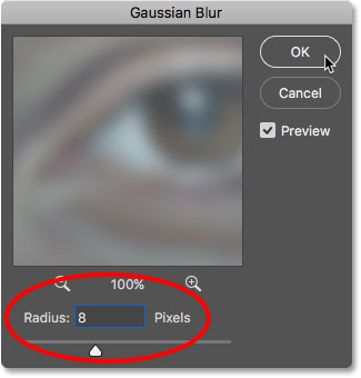 The Gaussian Blur dialog box