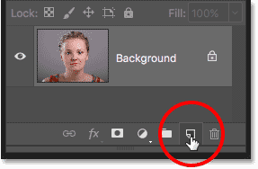 Clicking the Add New Layer icon in the Layers panel