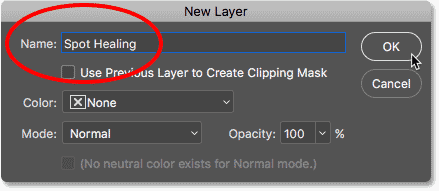 Naming the new layer 'Spot Healing' in Photoshop
