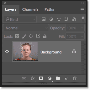 Photoshop Layers panel showing the original image on the Background layer