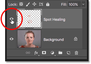 Clicking the Spot Healing layer visibility icon in the Layers panel in Photoshop