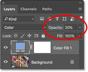 Increasing the fill layer's opacity to 20 percent. Image © 2017 Photoshop Essentials.com