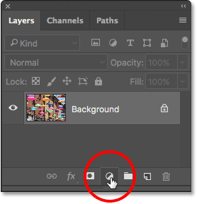 Clicking the New Fill or Adjustment Layer icon in the Layers panel. Image © 2017 Photoshop Essentials.com