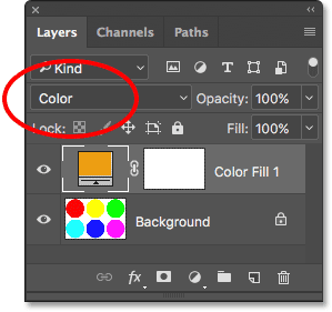 Changing the blend mode of the fill layer to Color. Image © 2017 Photoshop Essentials.com